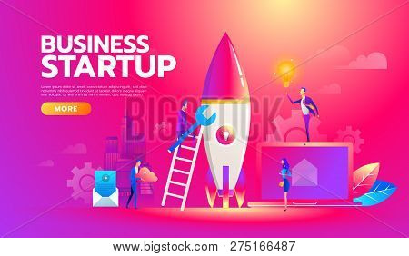 New Startup Project Business Plan, Development Of Investment Search. Successful Business Team Workin