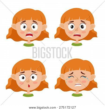 Set Of Red-haired Girl Scared Face Expression Isolated On White