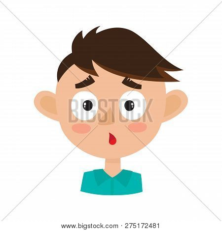 Little Boy Surprised Face Expression, Cartoon Vector Illustrations