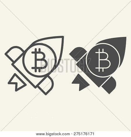 Bitcoin Launching Line And Glyph Icon. Cryptocurrency Rocket Vector Illustration Isolated On White.