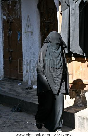 Woman In A Burqa, Old Town Of Sanaa (yemen).