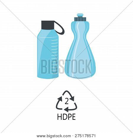 Hdpe 2 Plastic Type - Blue High-density Polyethylene Bottles With Recycle Triangle Arrow Sign.