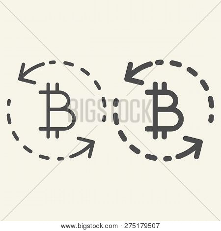 Bitcoin Exchange Line And Glyph Icon. Circle Arrows Bitcoin Vector Illustration Isolated On White. C