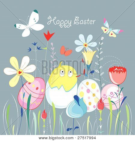 Easter greeting card with a chicken on a background of flowers and grass moths poster