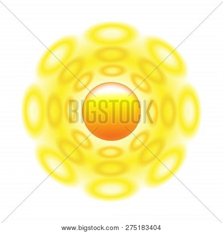Sun Icon With Rays Out Of Roundels. Sign Or Logo Design With Yellow Cute Sun. Aggregated Vector Illu