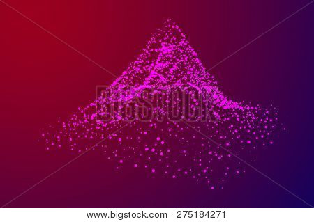 Wireframe Terrain Vector Background. Cyberspace Landscape Grid Technology Illustration