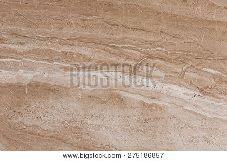 Brown Travertine Texture With Natural Pattern For Background Or Design.