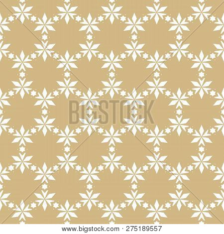 Vector Golden Floral Seamless Pattern. Elegant Christmas Background. Luxury Geometric Texture With S