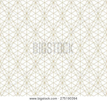 Vector Golden Lines Texture. Abstract Geometric Seamless Pattern With Delicate Grid, Lattice, Net, T