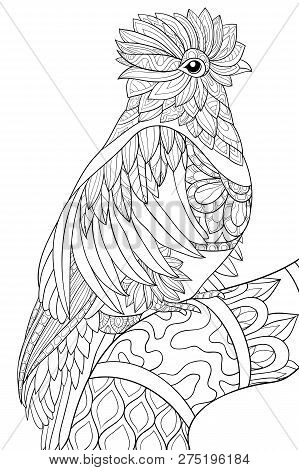 A Cute Bird On The Brunch With Ornaments Image For Relaxing Activity.a Coloring Book,page For Adults