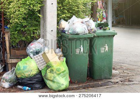 Bin, Garbage Is Pile Lots Dump, Many Garbage Plastic Bags Black Waste At Walkway Community Village,