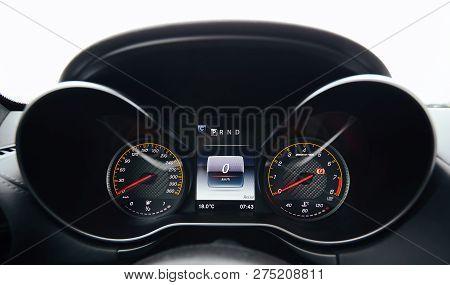 The Modern Car Interior Dashboard Details. Close Up.