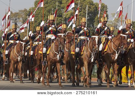 New Delhi, India - January 23, 2008: Mounted Soldiers Parading Down The Raj Path In Preparation For