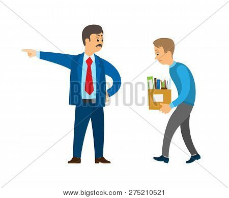 Boss Professional Director Worker Dismissing Person Duty Vector. Businessman Angry With Employee, Em