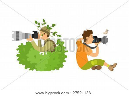 Photojournalist With Camera Gear, Make Zoom On Shooting Equipment, Bird Sitting On Gadget. Paparazzi