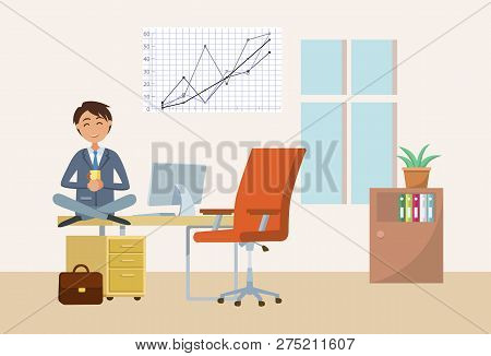 Man Drinking Tea On Break In Office, Businessman Having Rest Vector. Director With Cup Of Warm Bever
