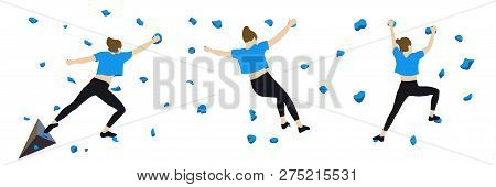 Women Climb A Climbing Wall In A Climbing Gym Isolated On A White Background. Vector Illustration.