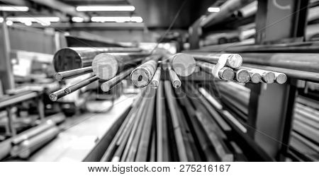 Steel Rod Stock In A Manufacturing Plant