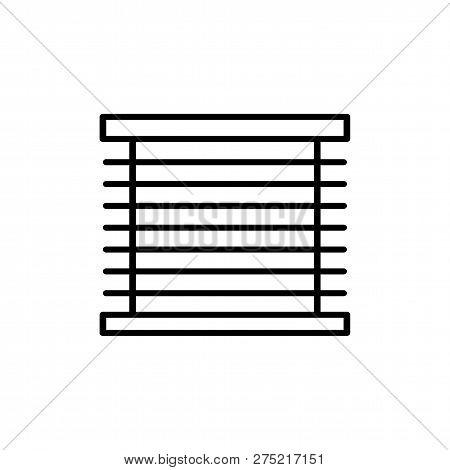 Black & White Vector Illustration Of Venetian Curtain Shutter. Line Icon Of Window Horizontal Blind