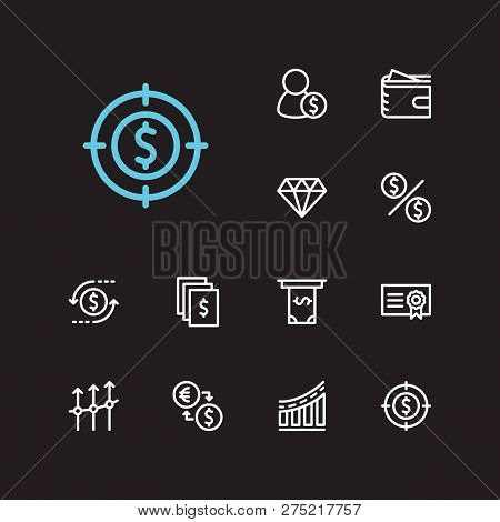 Investment Icons Set. Investment Target And Investment Icons With Return On Investment, Business Pro