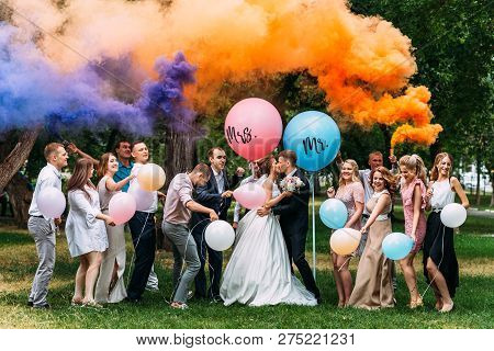 Wedding Guests. Bride And Groom Kissing At Wedding Ceremony. Funny Guests At The Wedding. Bride, Gro