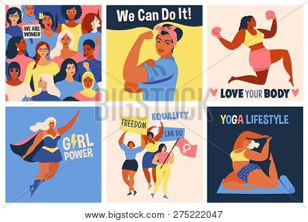 International Womens Day. We Can Do It Poster. Strong Girl. Symbol Of Female Power, Woman Rights, Pr