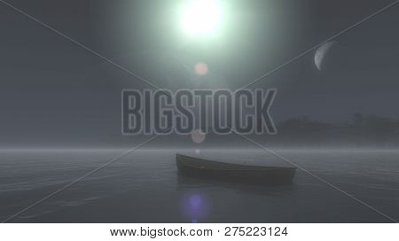 3d Illustration Of Astral World In Dream. Wooden Boat Floats On Water,private World Of The Person,tr