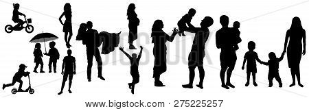 Lifetime Of Man And Woman With Childhood To Adult (family Life) Silhouette, Vector Illustration.chil
