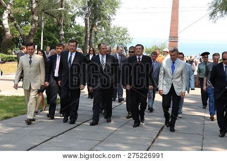 Odessa, Ukraine - April 6, 2011: Foreign Minister Russia Sergey Lavrov, Official Visit. Laying Flowe