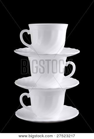Pile Of White Shiny Cups