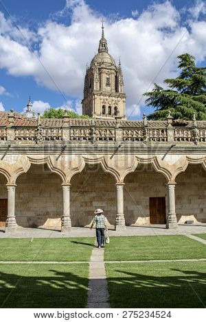 Patio De Escuelas Of University And Tower Od The Cathedral  Of Salamanca In The Historic Center Of T