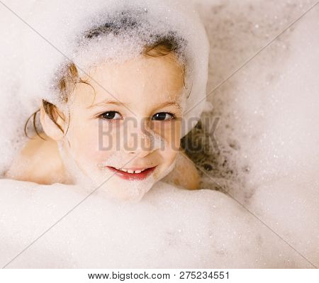 Little Cute Boy In Bathroom With Bubbles Close Up, Lifestyle Rea