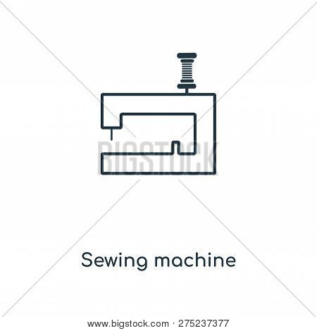 Sewing Machine Icon In Trendy Design Style. Sewing Machine Icon Isolated On White Background. Sewing