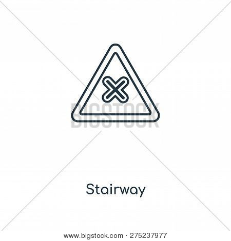 Stairway Icon In Trendy Design Style. Stairway Icon Isolated On White Background. Stairway Vector Ic