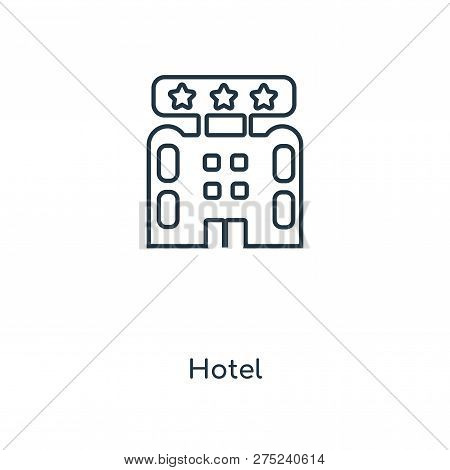 Hotel Icon In Trendy Design Style. Hotel Icon Isolated On White Background. Hotel Vector Icon Simple