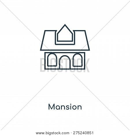 Mansion Icon In Trendy Design Style. Mansion Icon Isolated On White Background. Mansion Vector Icon