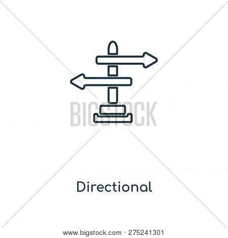 Directional Sign Icon In Trendy Design Style. Directional Sign Icon Isolated On White Background. Di