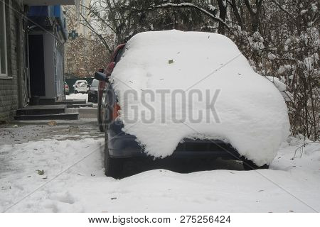Snowstorm, Snow-covered Street And Cars. Cars Covered In Snow During Snowstorm Cars Covered Snow Win