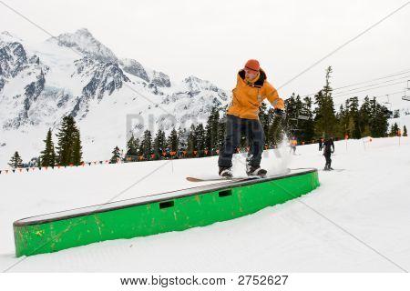 Snowboarding Riding A Box