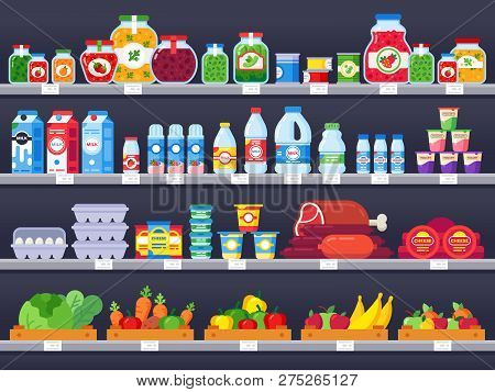 Food Products On Shop Shelf. Supermarket Shopping Shelves, Food Store Showcase And Choice Packed Mea