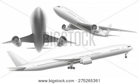 Realistic Aircraft. Passenger Plane, Sky Flying Aeroplane And Airplane In Different Views Isolated V