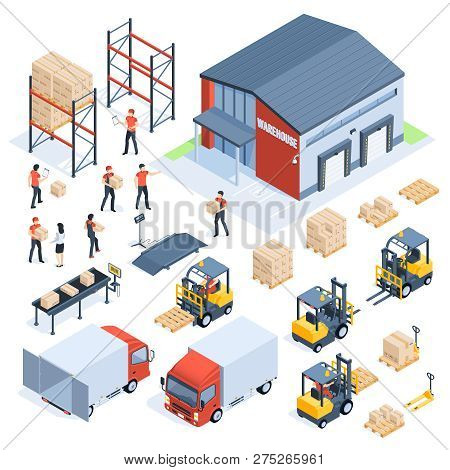 Isometric Warehouse Logistic. Cargo Transport Industry, Wholesale Distribution Logistics And Distrib