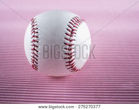 Baseball Over Pink Background