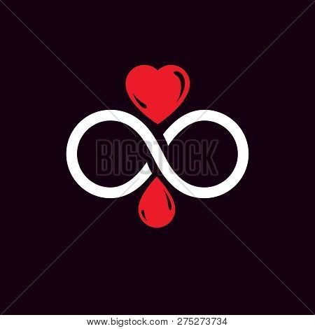 Vector illustration of heart shape, drops of blood and symbol of limitless. Healthcare and medical treatment conceptual logo for use in medical care advertisement. poster