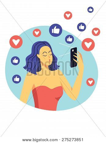 Color Vector Flat Style Illustration. A Girl Makes Selfie Using A Mobile Phone. Beautiful Modern Gir