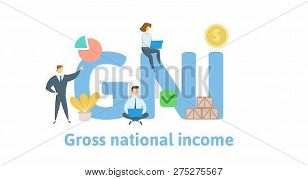 Gni, Gross National Income Acronym. Concept With Keywords, Letters And Icons. Flat Vector Illustrati
