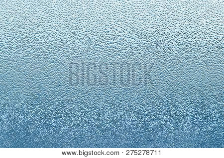 Misted Wet Window Glass As Background Texture.