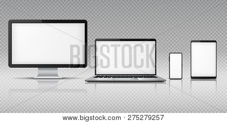 Realistic Computer Laptop Smartphone. Tablet Gadget Mockup, Pc Laptop Mobile Devices. Monitor Screen