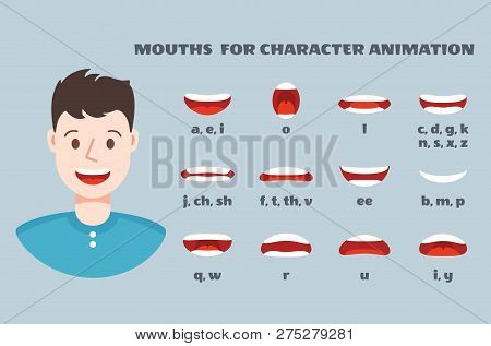 Mouth Sync. Male Face With Lips Talking Expression Set. Articulation And Smile, Speaking Mouths Anim