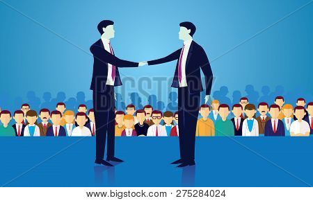 Vector Illustration Of Politician Businessman Shake Hands, Political Deal Agreement In Front Of Crow
